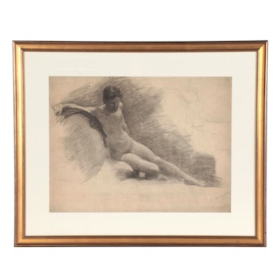 E. Meyer Charcoal Drawing Study of a Nude, Mid-20th Century