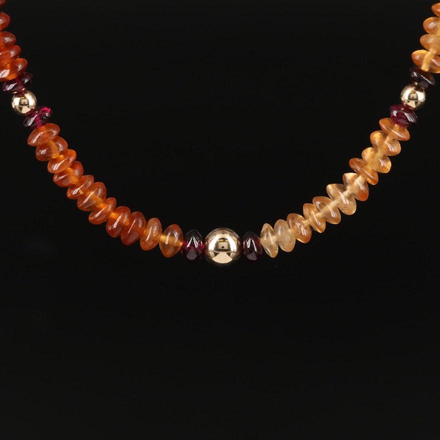 Hessonite and Rhodolite Garnet Necklace