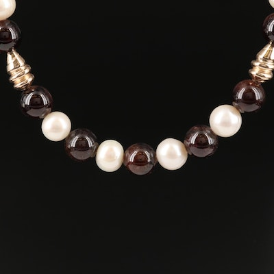 Rhodolite Garnet and Pearl Necklace with Gold Filled Beads and Clasp