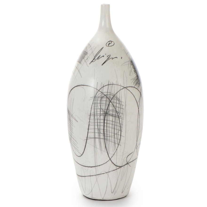 Graphite and Charcoal Linear Abstract Drawing on Whitewashed Vase