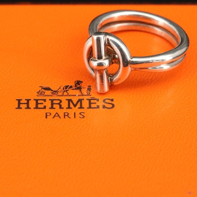 "Hermès ""Croisette"" Sterling Silver Ring"