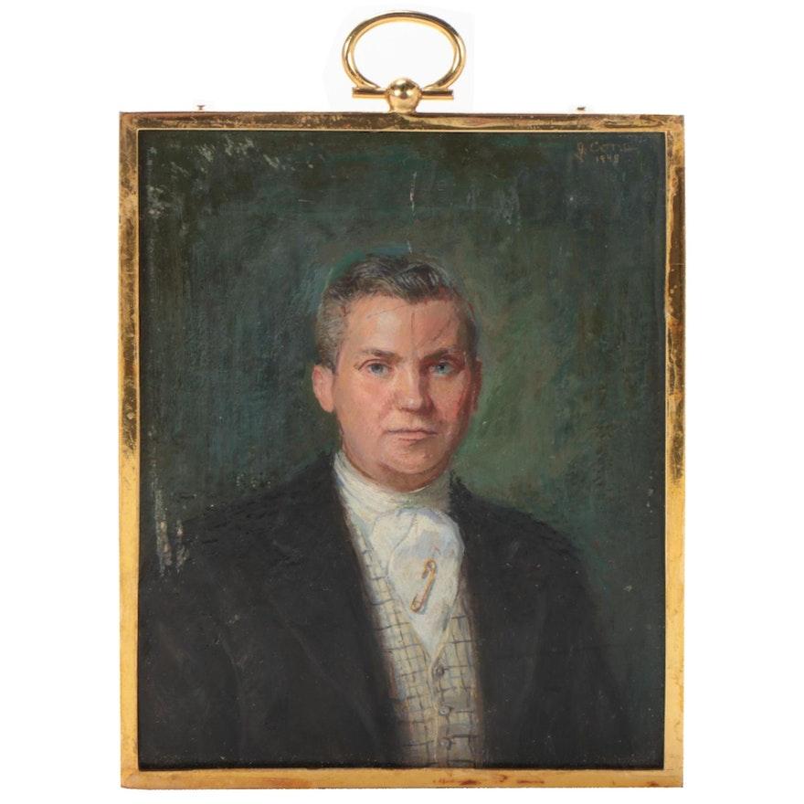 Oil Portrait Medallion of a Gentleman, 1948