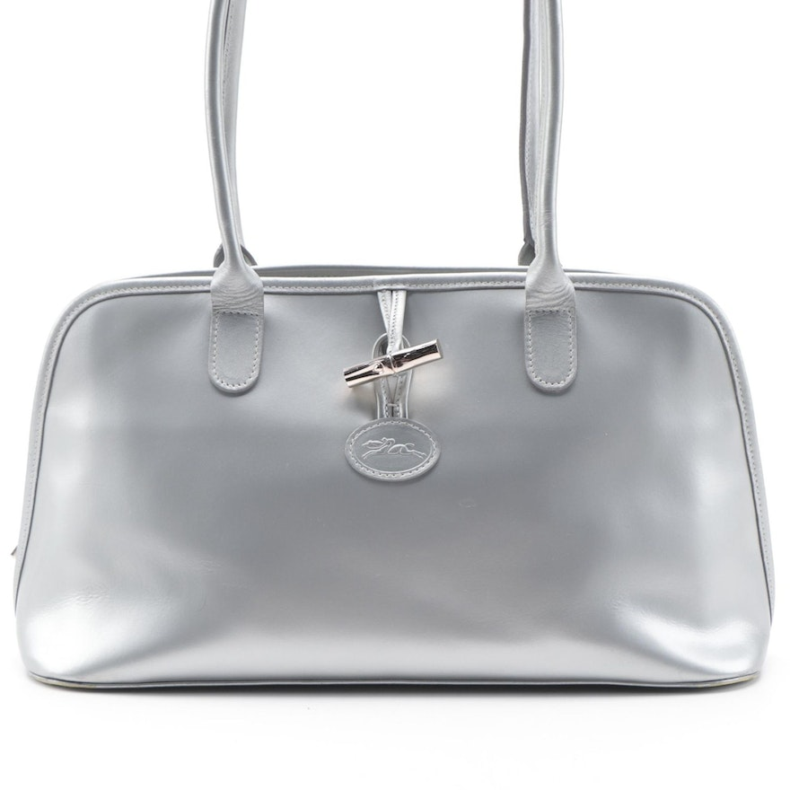 Longchamp Roseau Dome Satchel in Smooth Silver Leather