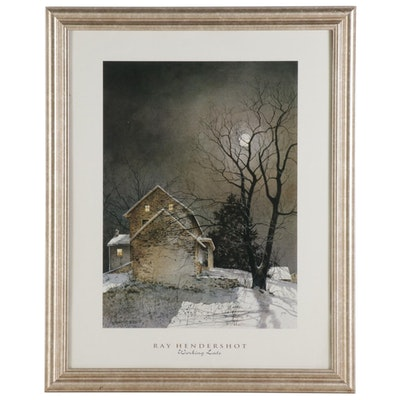 "Offset Lithograph after Ray Hendershot ""Working Late,"" circa 2000"