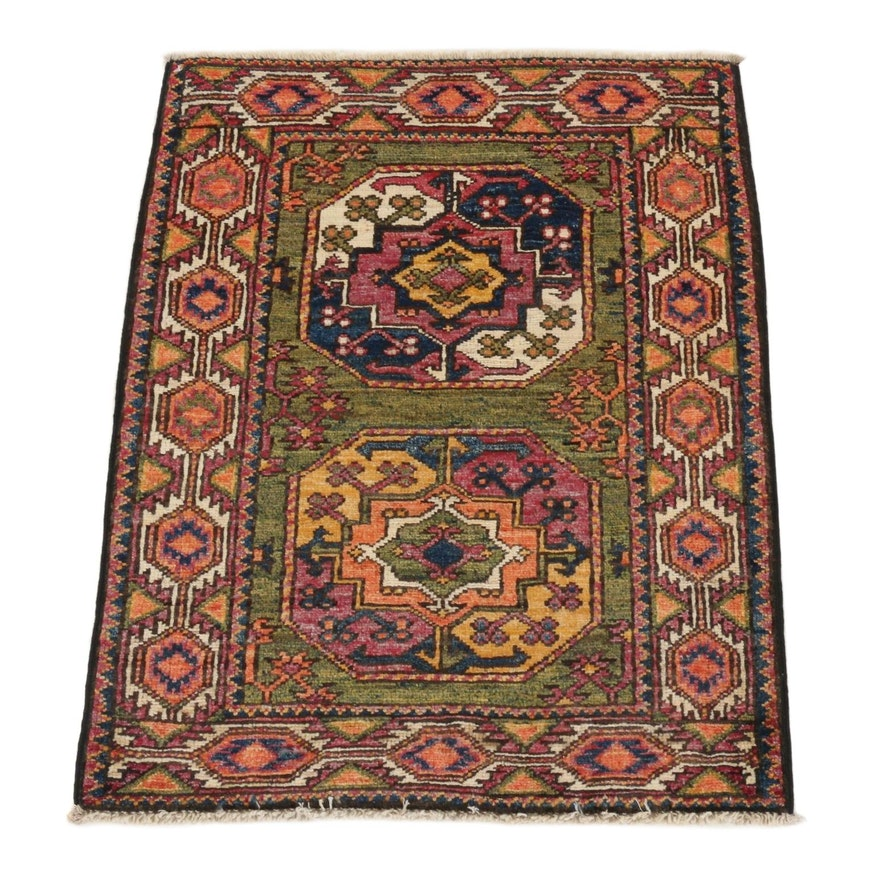 2'1 x 2'8 Hand-Knotted Afghan Turkmen Rug, 2010s