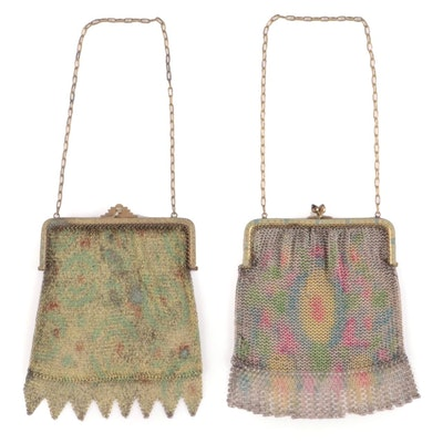 German Enameled Metal Mesh Purses with Chain Link Straps