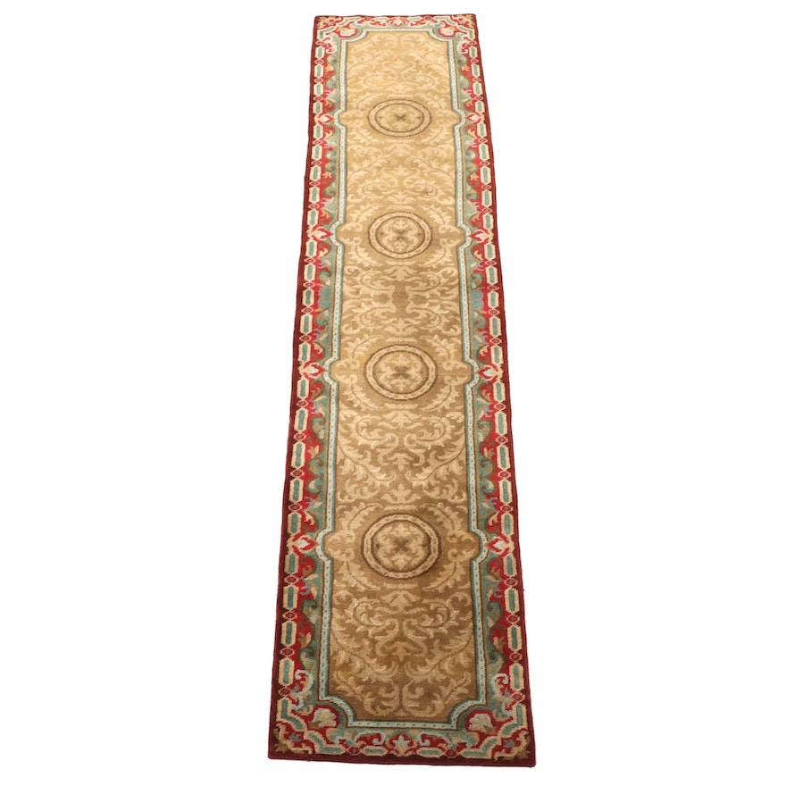 2'9 x 12'4 Hand-Knotted Indo-Persian Wool Carpet Runner