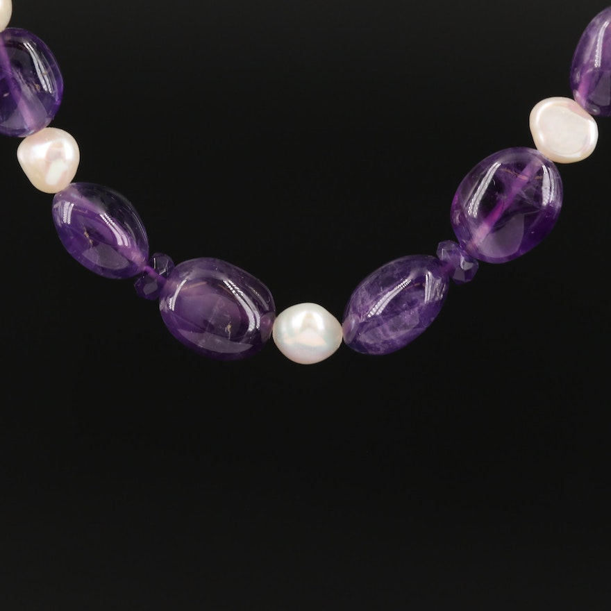 Amethyst and Pearl Necklace with Sterling Clasp