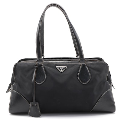 Prada Tessuto Satchel Bag in Black Nylon with Leather Trim