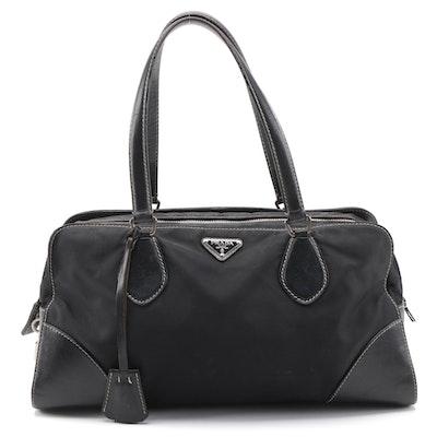 Prada Tessuto Satchel Bag in Black Nylon with Leather Trim