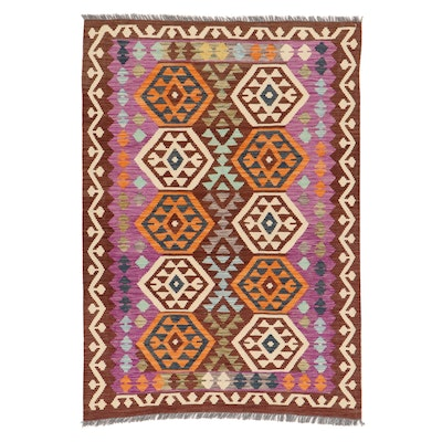 4' x 5'9 Handwoven Turkish Village Kilim Rug, 2010s