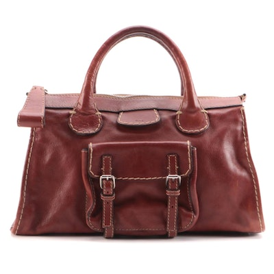 Chloé Edith Mahogany Leather Satchel with Contrast Stitching