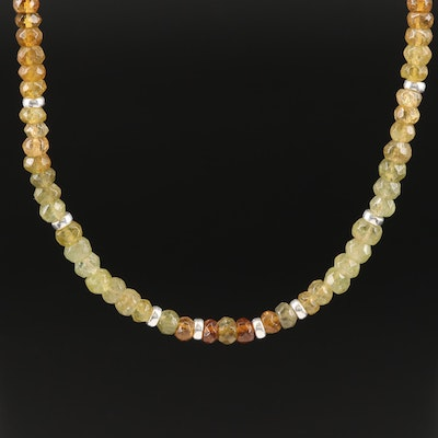 Sterling Garnet Faceted Bead Necklace