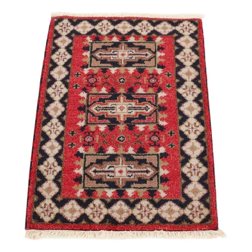 2'2 x 3'2 Hand-Knotted Indo-Caucasian Kazak Rug, 2010s