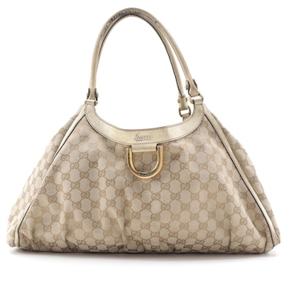 Gucci D-Ring Hobo Bag in Beige GG Canvas and Leather