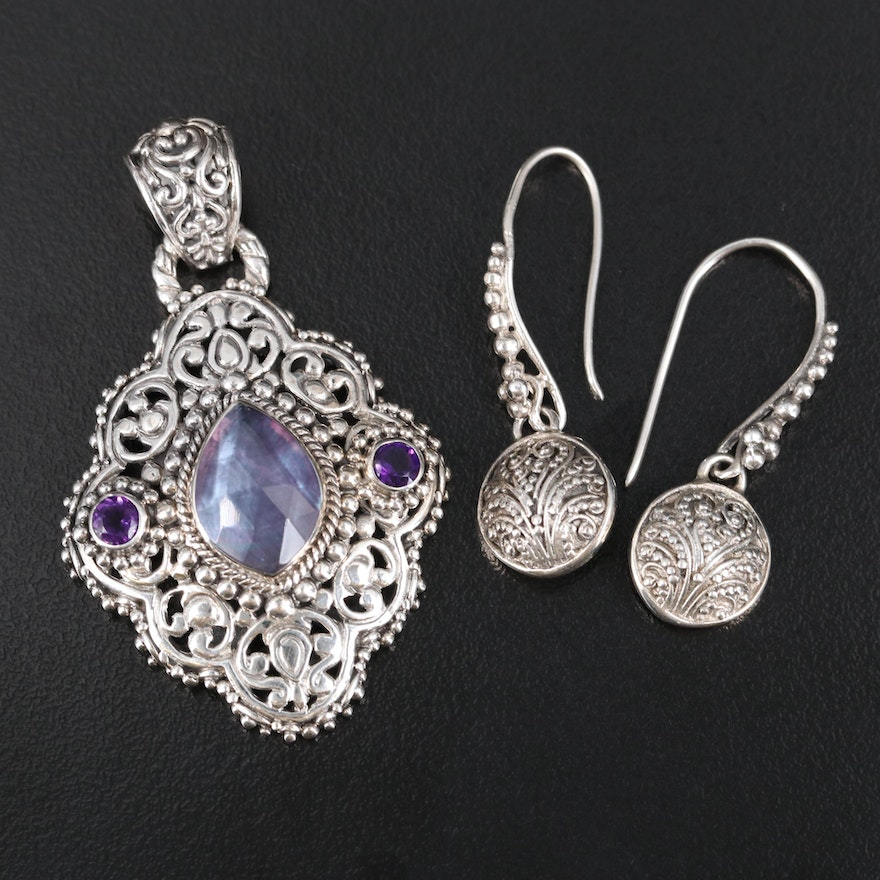 Balinese Sarda Sterling and Gemstone Doublet Pendant and Earrings