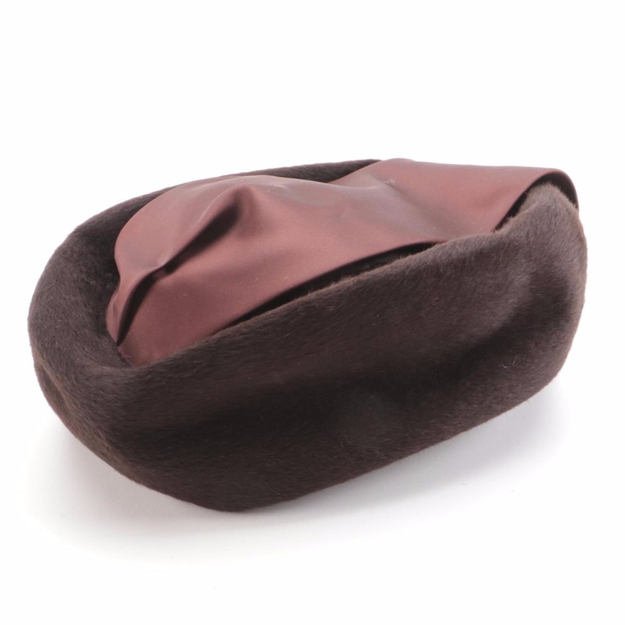 H.P. Wasson Brown Fur Felt Satin Pillbox Hat