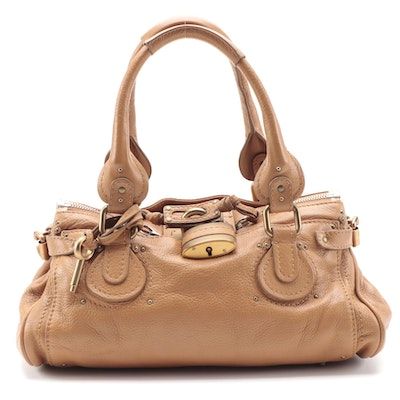 Chloé Paddington Medium Satchel Bag in Tan Grained Leather