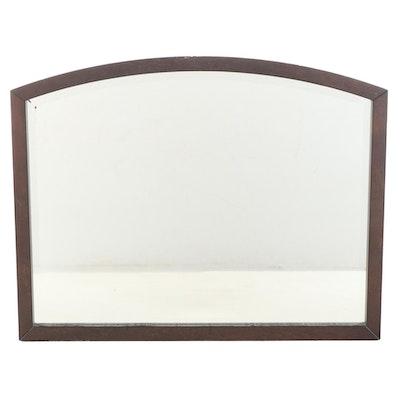 Crate & Barrel Walnut Framed Arched Wall Mirror