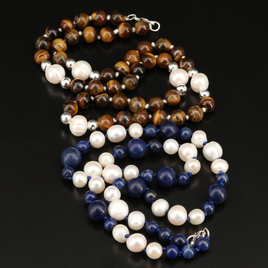 Tiger's Eye, Lapis Lazuli, Pearl Bead Necklaces with Sterling Clasps