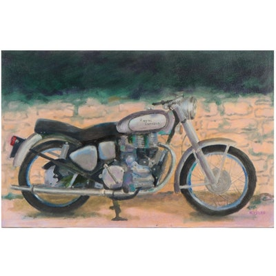 """Ned Stern Acrylic Painting """"Royal Enfield,"""" 2007"""