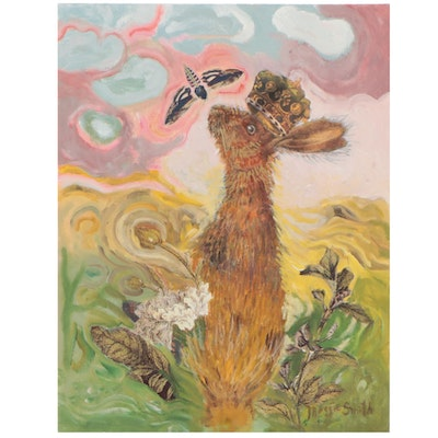 Maggie Smith Mixed Media Painting of Rabbit with Crown, 21st Century