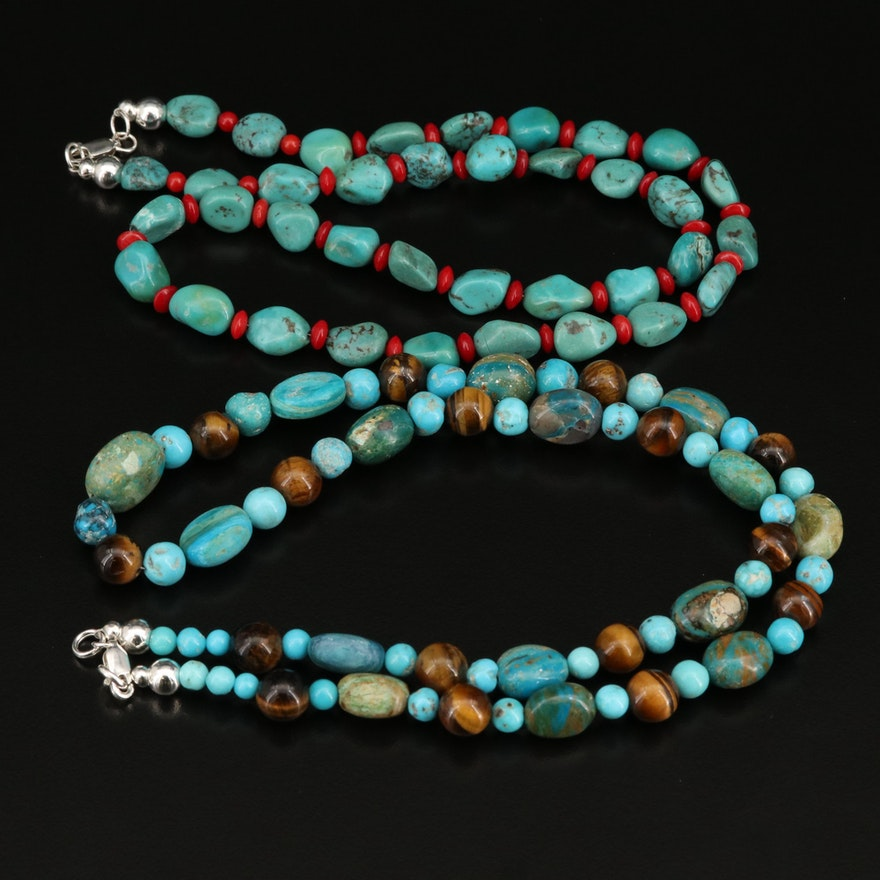 Tiger's Eye, Turquoise and Chrysocolla Necklaces with Sterling Clasp