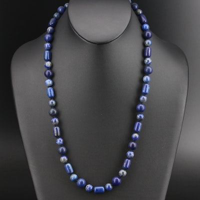 Lapis Lazuli Beaded Necklace with Sterling Clasp