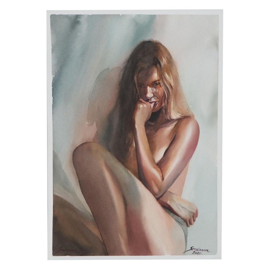 Anastasija Serdnova Watercolor Painting of Female Figure, 2020