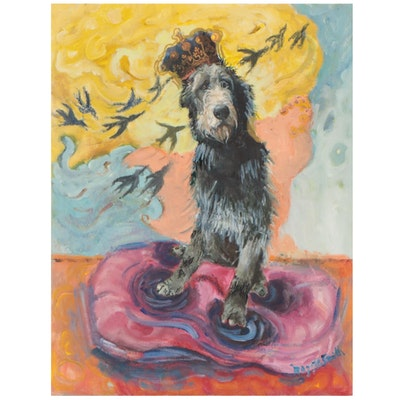 Maggie Smith Mixed Media Painting of Irish Wolfhound with Crown