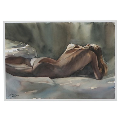 Anastasija Serdnova Watercolor Painting of Female Nude, 21st Century