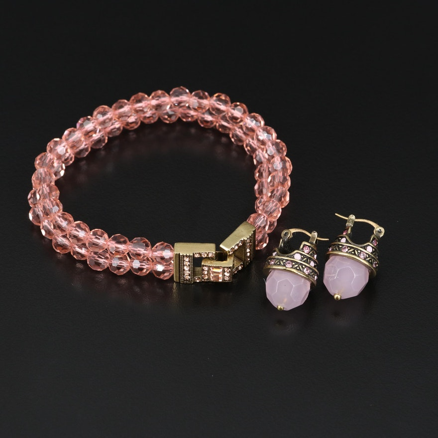 Heidi Daus Double Strand Bracelet and Earrings with Glass