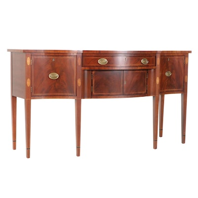 """Hickory Chair """"Mt. Vernon"""" Hepplewhite Style Bow Front Buffet, Late 20th Century"""