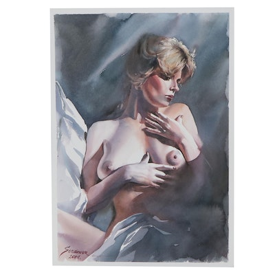 Anastasija Serdnova Watercolor Painting of Female Nude, 2021