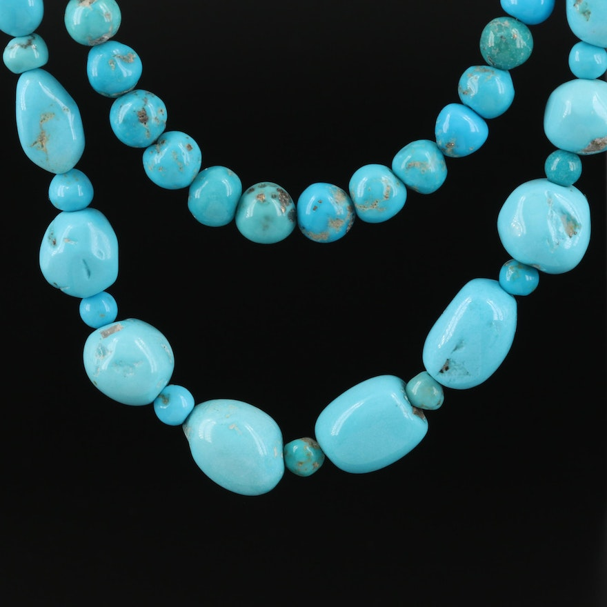 Turquoise, Faux Turquoise and Amazonite Beaded Necklaces with Sterling Clasps