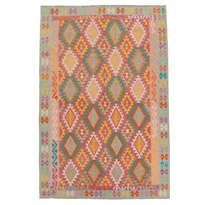 6'9 x 10'2 Handwoven Afghan Kilim Wool Area Rug