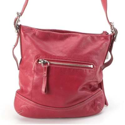 Coach Slim Duffle Shoulder Bag in Red Leather with Tassel