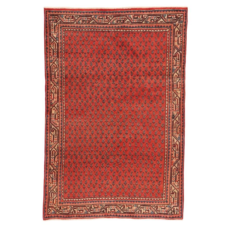 4'4 x 6'6 Hand-Knotted Persian Mir Sarouk Rug, 1970s