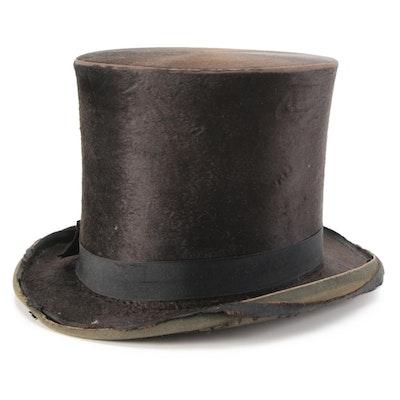 Silk Plush Top Hat from Jos. Bueker Manufacturer, Dayton, Ohio