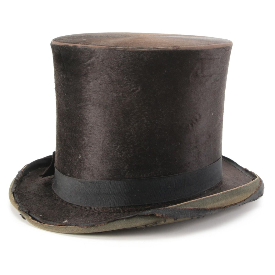 Silk Plush Top Hat from Jos. Bueker Manufacturer, Dayton, Ohio