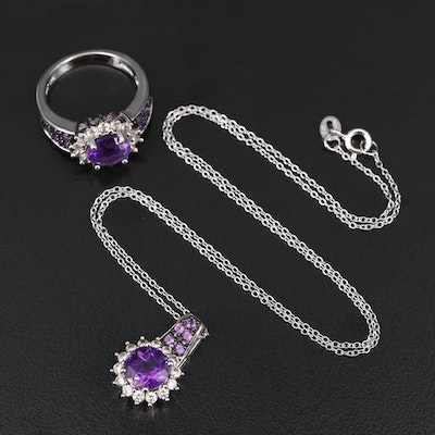 Stelring Amethyst and White Zircon Pendant Necklace and Ring Set
