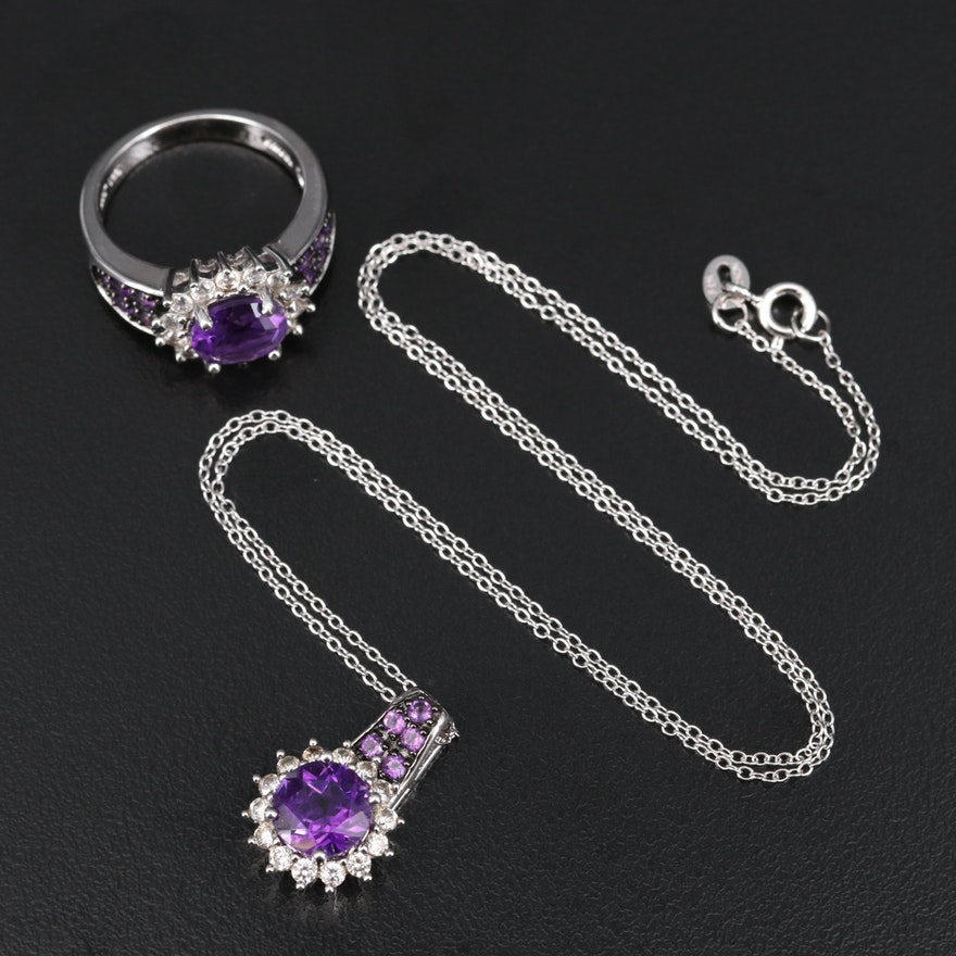 Sterling Amethyst and White Zircon Pendant Necklace and Ring Set