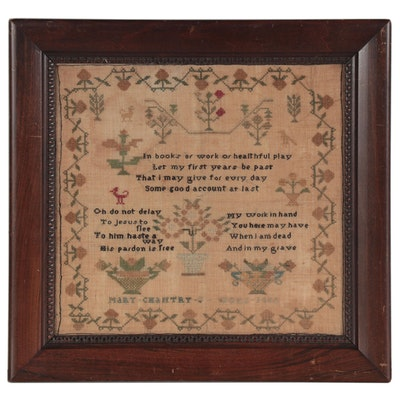 Mary Chantry Cross-Stitch Needlework Sampler, 1813