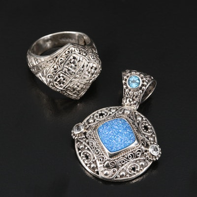 Balinese Sarda Sterling Glass and Topaz Pendant with Ring
