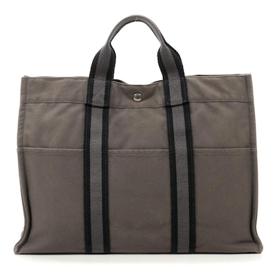Hermès Fourre Tout MM Tote in Grey Cotton Canvas