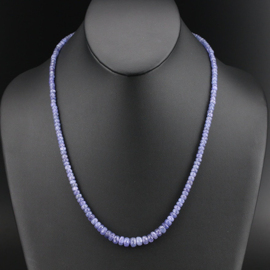 Graduated Tanzanite Beaded Necklace with Sterling Clasp