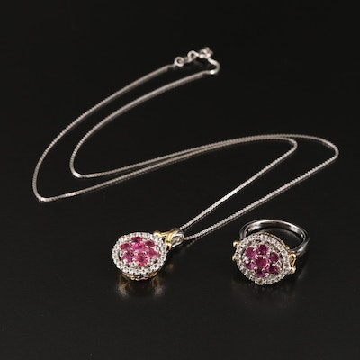 Sterling Ruby and White Topaz Pendant and Ring Set