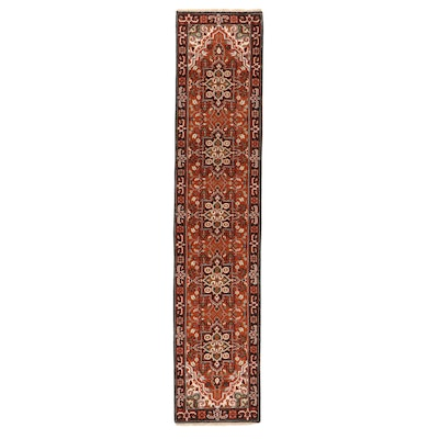 2'7 x 12'4 Hand-Knotted Indo-Persian Heriz Carpet Runner, 2010s