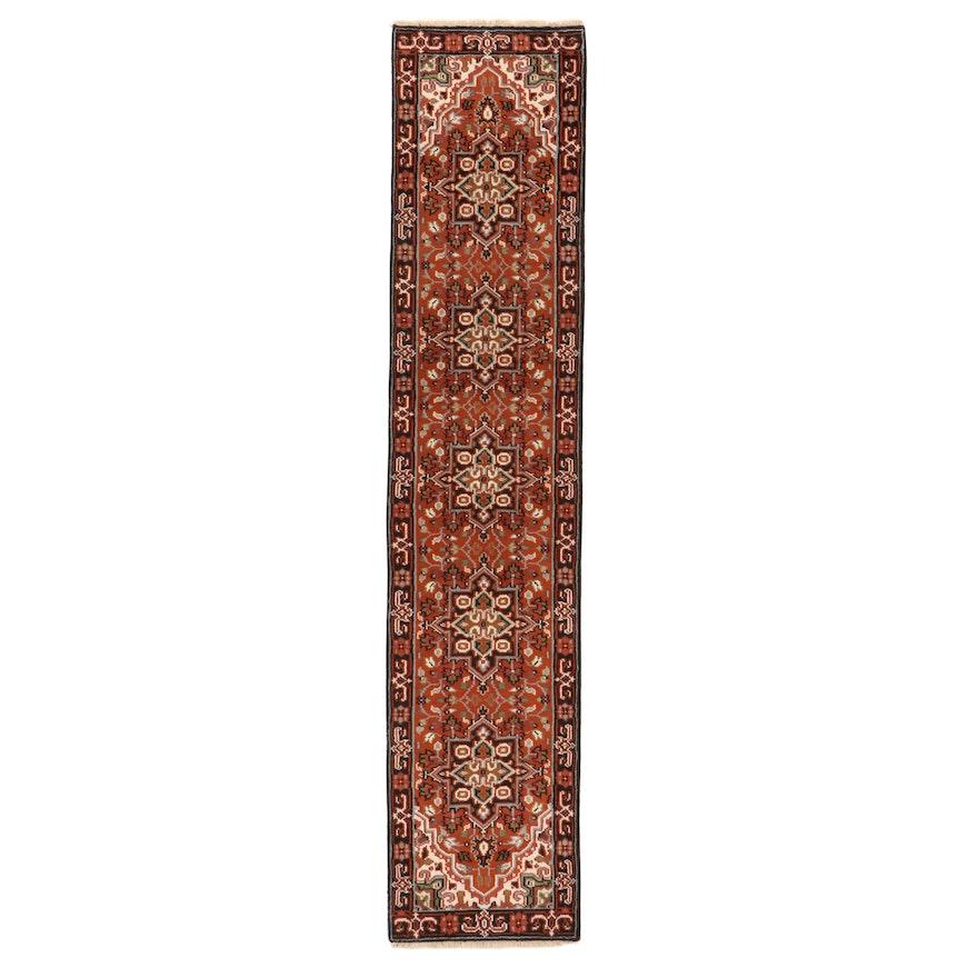 2'7 x 12'4 Hand-Knotted Indo-Persian Heriz Carpet Runner, 2010s