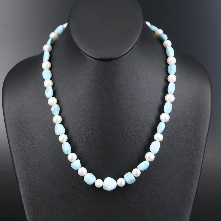 Larimar and Pearl Beaded Necklace with Sterling Clasp